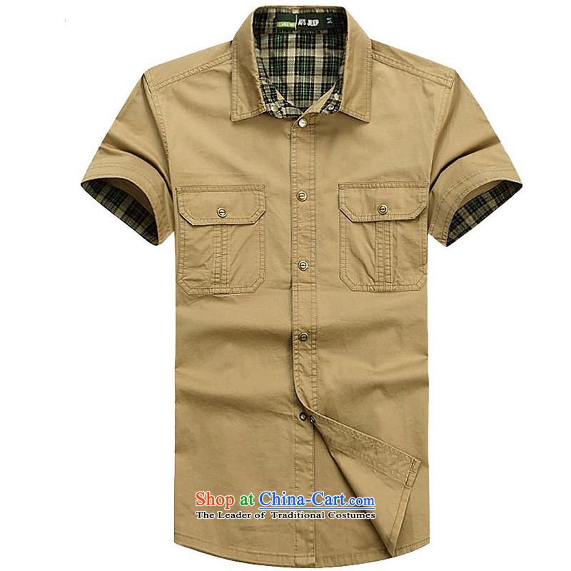 Jeep Shield Tang dynasty short-sleeved shirt and a solid color stitching lapel shirt Pure Cotton Men for both business and leisure snap short-sleeved shirt 6829 khaki?4XL