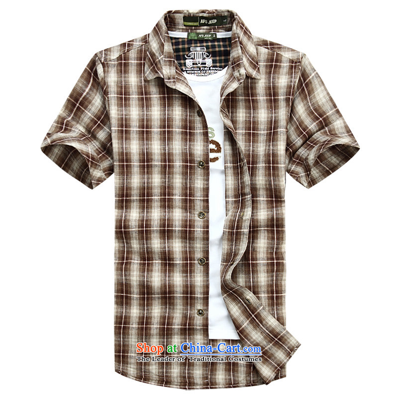 Jeep Shield Tang dynasty male lapel shirt buttons checked short-sleeved shirt men detained youth business and leisure pure cotton fabric, short-sleeved shirt 6835 RED聽M