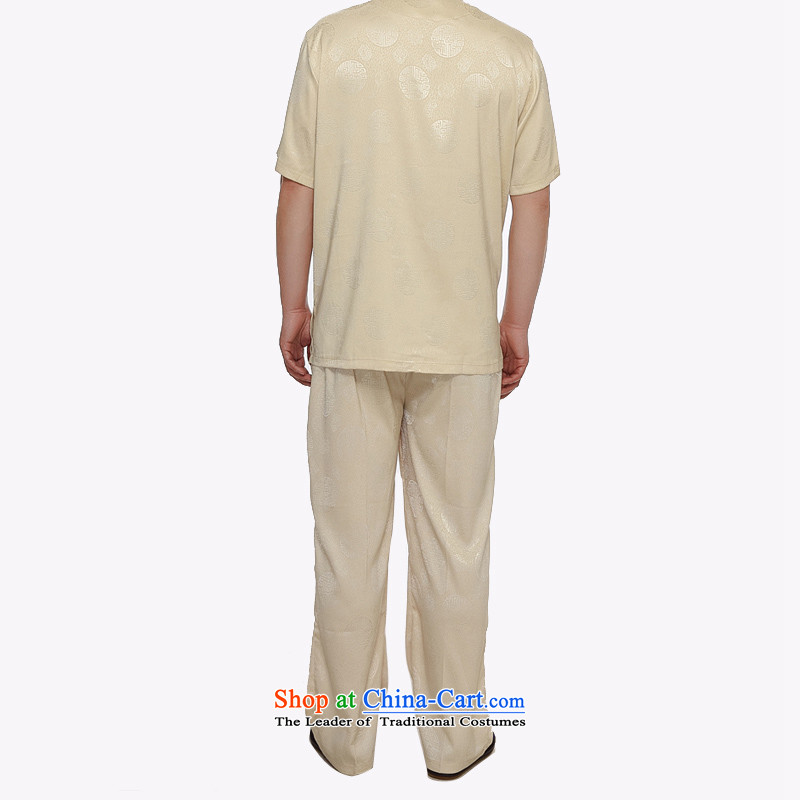 Kanaguri mouse summer new middle-aged home leisure China wind Kit Chinese Men's Mock-Neck short-sleeved Tang Dynasty Gold聽, L kanaguri mouse (JINLISHU) , , , shopping on the Internet