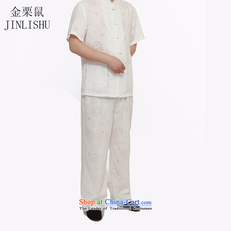 Kanaguri mouse linen men Tang Dynasty Package short-sleeved shirt summer manually disc detained Chinese Tang dynasty white燲XXL