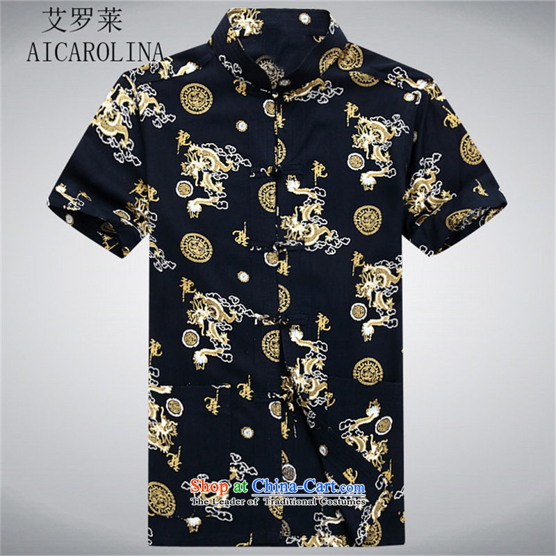 Hiv Rollet summer in older men Tang dynasty short-sleeved T-shirt middle-aged men Tang-black casual燲XL