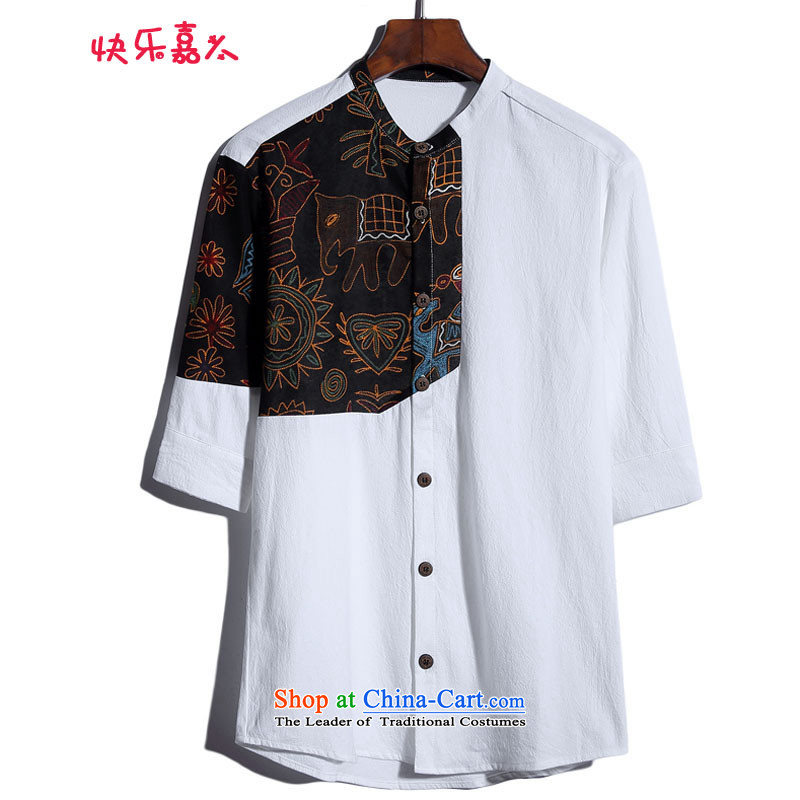 Happy Ka Man China Wind_7 to the maximum number of linen in his shirt-sleeves DC6801 White?M