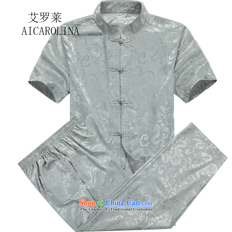 Hiv middle-aged men Rollet Tang Dynasty Short-Sleeve Mock-Neck package for older men summer blouses leisure Tang Dynasty Package聽XXXL Gray Blue