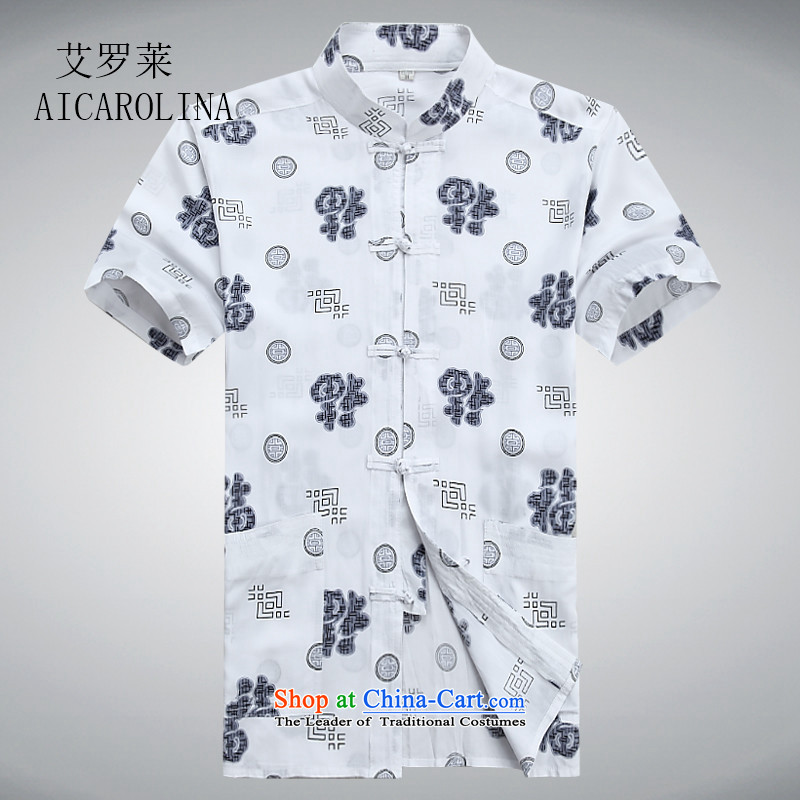 Hiv middle-aged men rollet short-sleeved shirt Tang dynasty summer in New half-sleeved shirt and older Chinese White?175_L