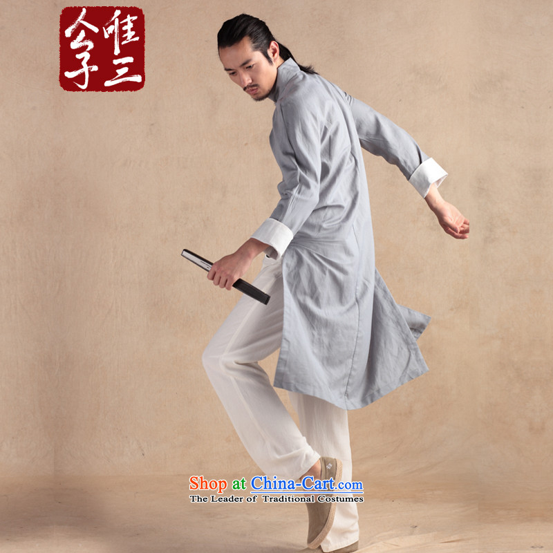 Cd 3 China wind wind Chhnang Sau San linen cotton linen Chinese national costumes and spring and autumn coats of ethnic Tang dynasty soot small (S)