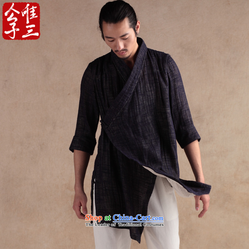 Cd 3 China wind Vallee Enchantee Sub Male linen cotton linen tunic Tang Dynasty 7 short-sleeved shirt ethnic Chinese Han-autumn and winter navy blue large _L_