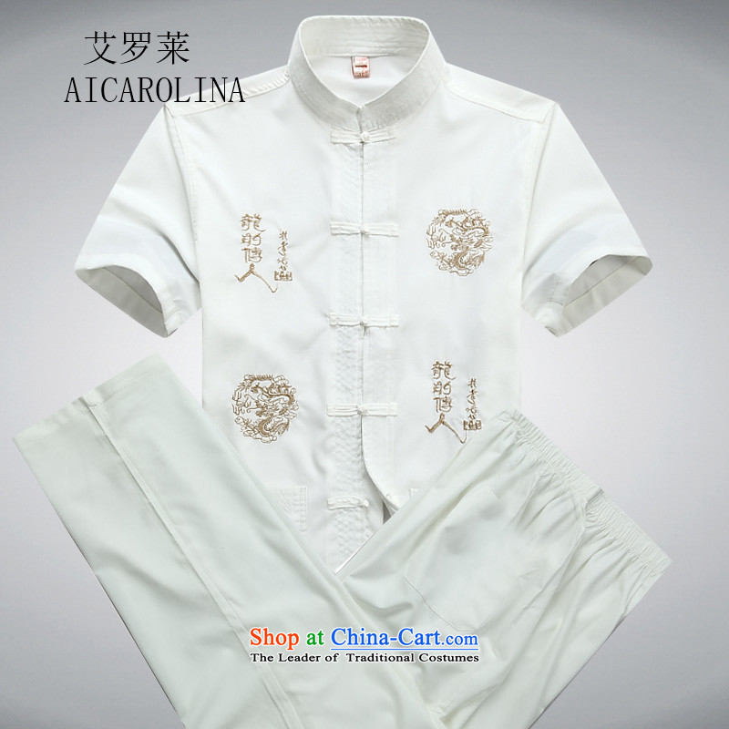 Hiv Rollet New Tang dynasty male short-sleeved shirts in older men Tang Dynasty Package for summer short-sleeve kit grandfather Tang dynasty white聽190_XXXL Kit