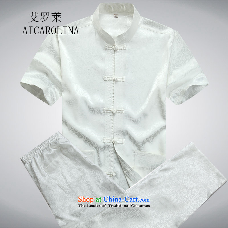 Rollet father load HIV summer men Tang Dynasty Package for short-sleeved older along the River During the Qingming Festival  Tang Dynasty Chinese White聽180_XL Kit