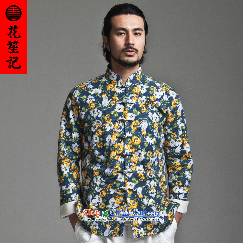 His Excellency flower note China wind Dili Mong flowers to Tang dynasty Men's Mock-Neck Sau San disk deduction Chinese long-sleeved jacket cotton spring flowers blue 165/80A