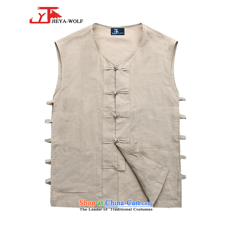 - Wolf JIEYA-WOLF, New Tang Dynasty Short-Sleeve Men's vest jacket summer advanced solid-colored fabrics and stylish lounge men khaki聽190_XXXL Solid Color