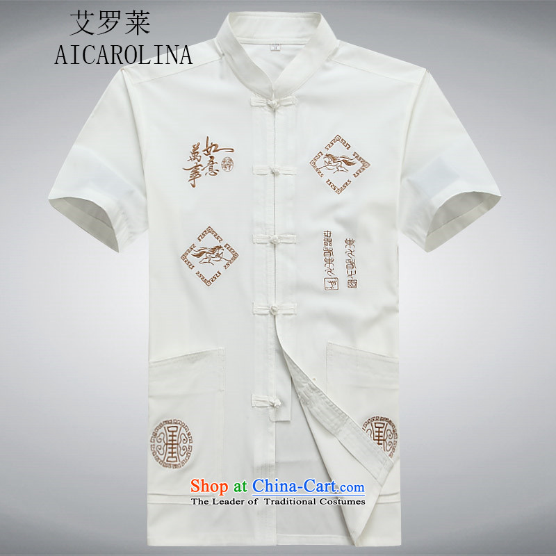 Rollet HIV Tang dynasty in the number of older men and short-sleeved T-shirt middle-aged men Mr Ronald Tang dynasty short-sleeved older persons for summer燲XXL White