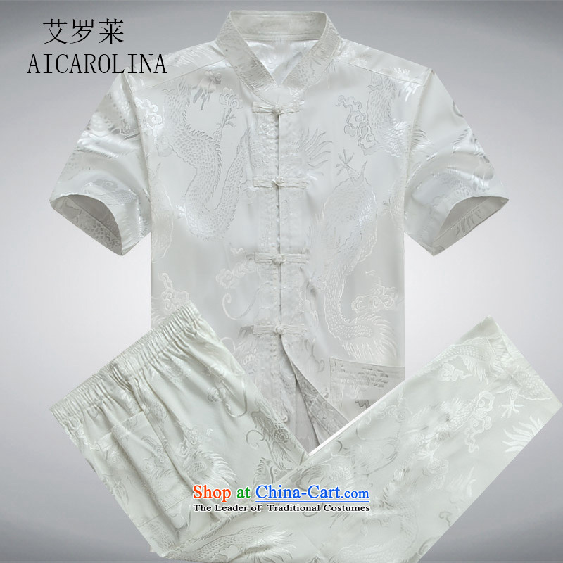 Hiv Rollet middle-aged men and summer 2015 kit tray clip collar Tang Dynasty Chinese clothing White Kit?L