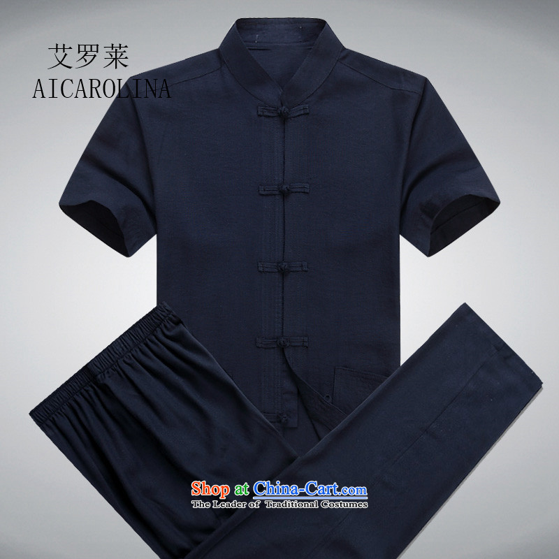 Hiv Rollet men in Tang Dynasty elderly men short-sleeve kit for middle-aged father of older persons Tang blouses Chinese men, possession of blue?XXXL Kit