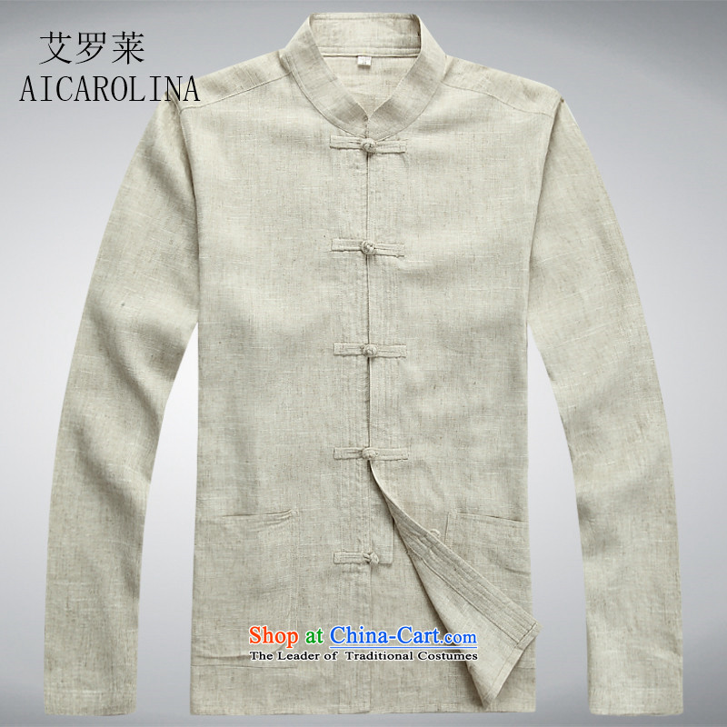 Hiv Rollet Spring and Autumn Chinese Tang tray clip middle-aged men Tang Dynasty Package and long-sleeved shirt, beige jacket?XXL
