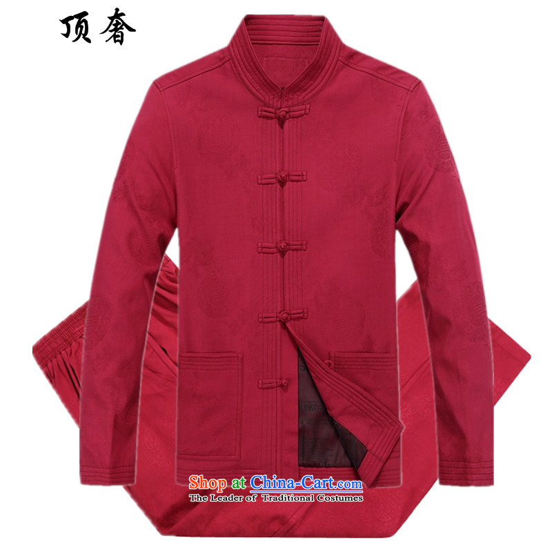 Top Luxury of older persons in the Tang dynasty and long-sleeved jacket cotton men with grandpapa load spring and autumn older persons life jackets jacket Large Tang Dynasty Package 88010) Red Kit?190