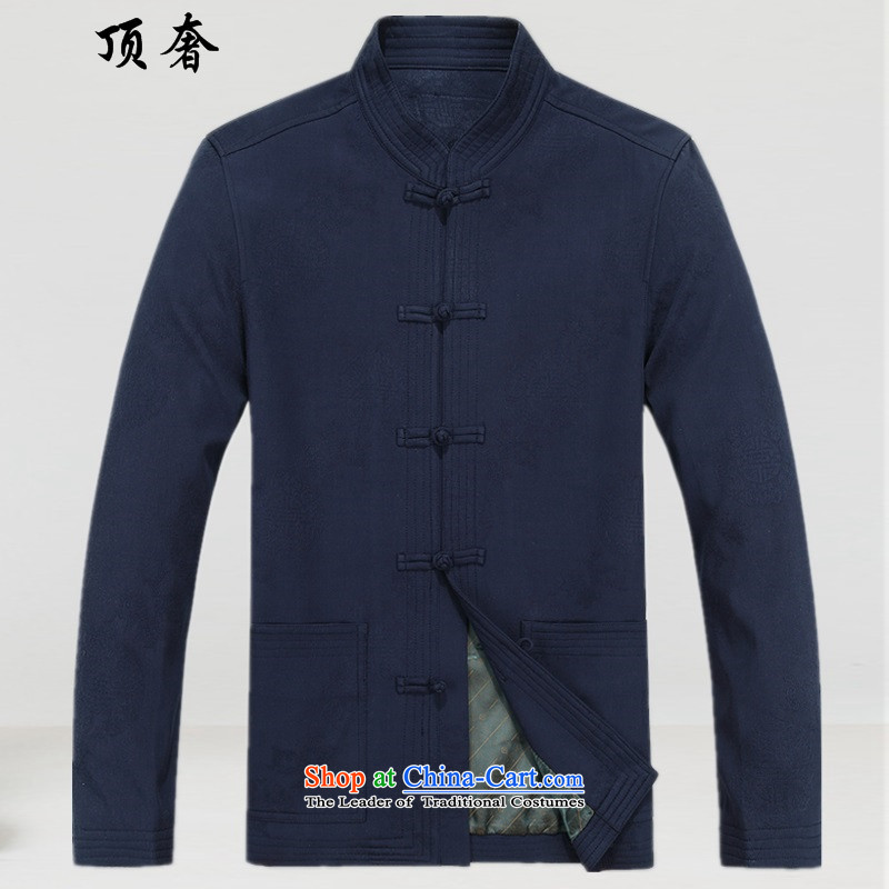 Top Luxury elderly men loaded autumn clothes older persons Tang Jacket coat disk port blue liberal Chinese cotton wedding dresses in the life of older men and a long-sleeved Tang dynasty?8801, blue shirt?185