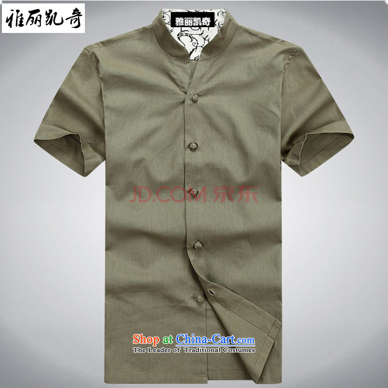 Alice Keci 2015 New China wind men cotton linen Tang dynasty short-sleeved T-shirt collar middle-aged men and Chinese national dress Sau San Men's Shirt thin green summer 185