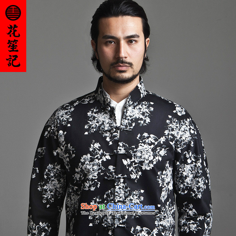 His Excellency flower note China wind Dili Mong flowers to Tang dynasty Men's Mock-Neck long-sleeved jacket Sau San men Chinese stylish black聽XL