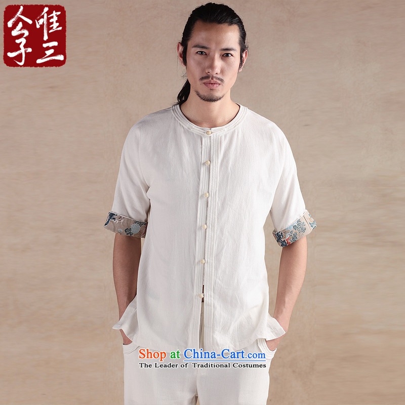 Cd 3 China wind bodhicitta male summer cotton linen flax short-sleeved shirt Chinese men casual shirts in Tang Dynasty ball spring and summer, big white _L_