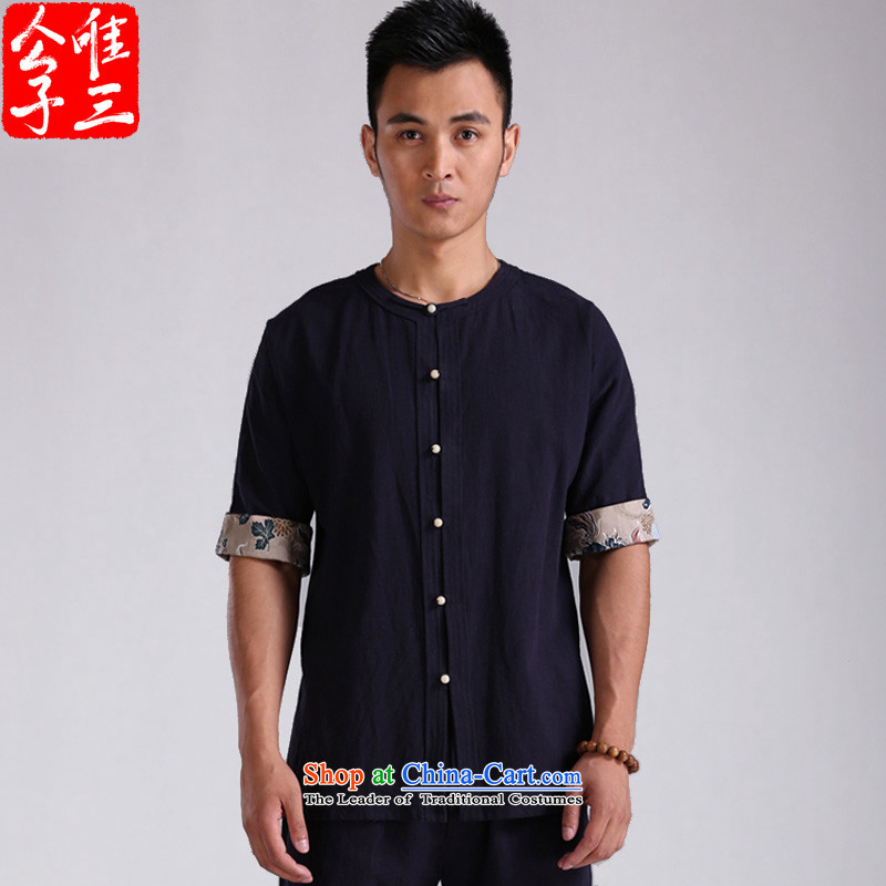 Cd 3 China wind bodhicitta male summer cotton linen flax short-sleeved shirt Chinese men casual shirts in Tang Dynasty ball spring and summer, big white (L), CD 3 , , , shopping on the Internet