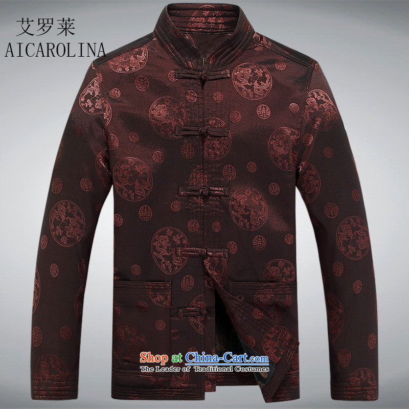 Airault letang replacing men and the elderly in the Tang dynasty male jacket older Tang jackets men Chinese boxed coffee-colored spring and autumn聽XXL