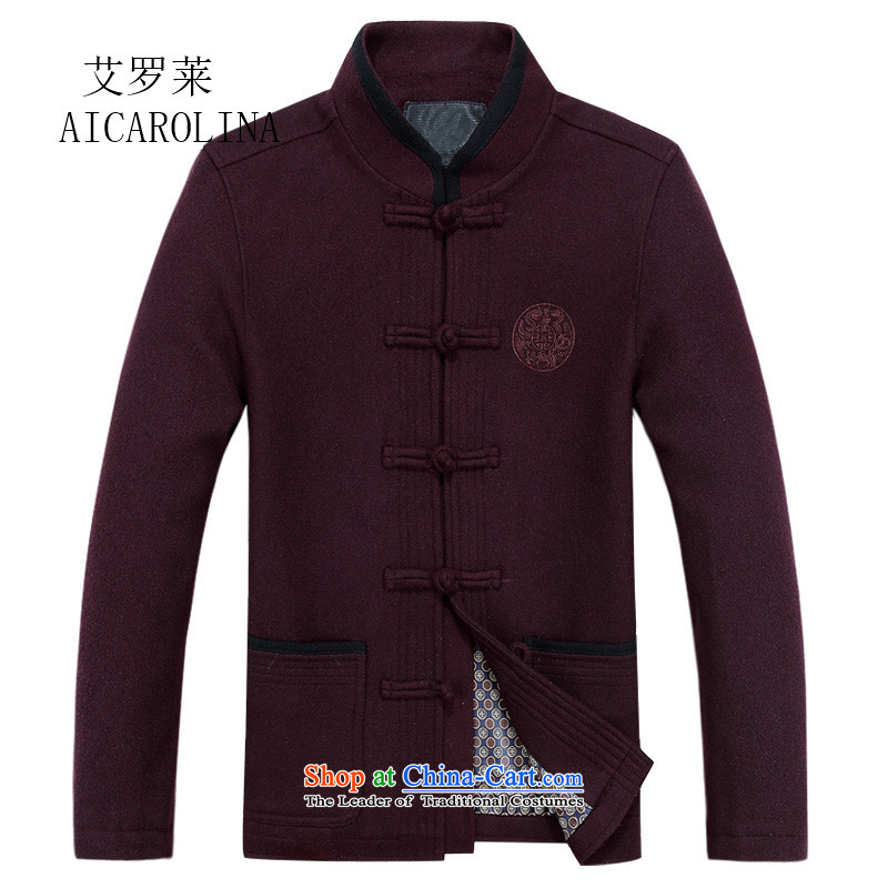 Rollet middle-aged autumn HIV jackets 2015 new tray clip Tang jackets, coats of older long-sleeved red?M