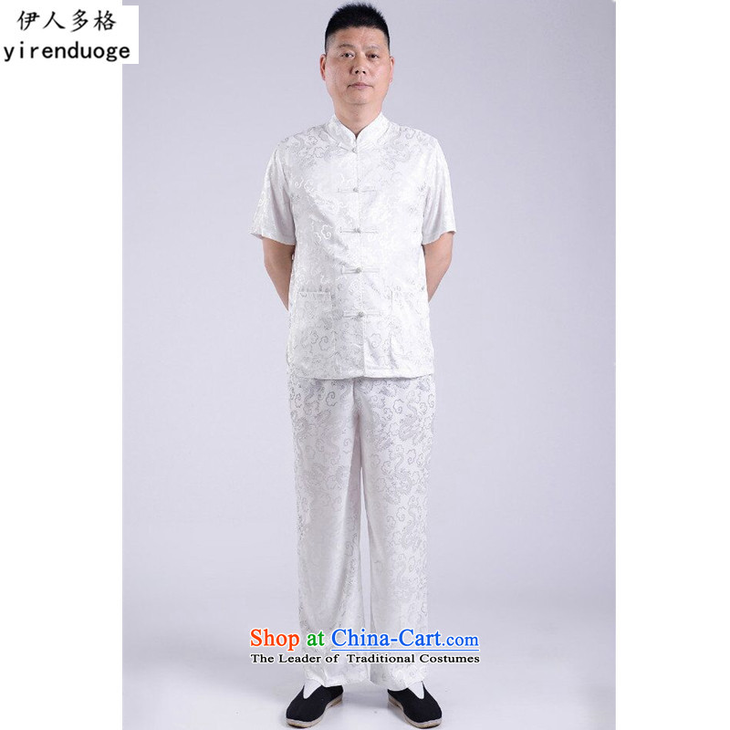 The Mai-Mai multi-   year 2015 new summer of older persons in the men's short-sleeved Tang dynasty male Kit China wind Chinese leisure national service for larger father replacing White Kit 185