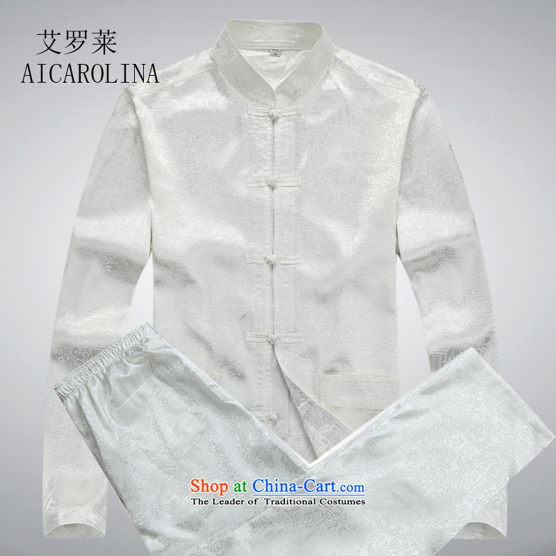 Hiv Rollet men Tang dynasty long-sleeved kit national costumes large load dad middle-aged China wind Chinese clothing White Kit?L