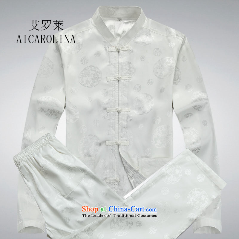 Hiv Rollet 2015 New China wind long-sleeved middle-aged men Tang dynasty round Dragon Chinese Suite white long-sleeved kit燲XL