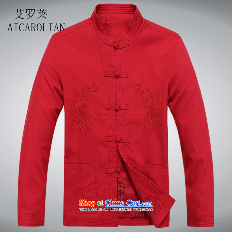 Airault letang replacing men and long-sleeved men in Tang Dynasty long-sleeved older Men's Shirt Spring and Autumn Tang dynasty燲XXL red