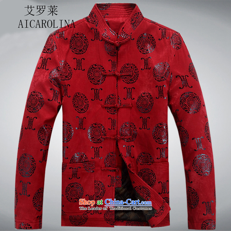 Hiv Rollet 2015 Tang dynasty collar middle-aged men's shirt ethnic grandpa male聽XXXL red