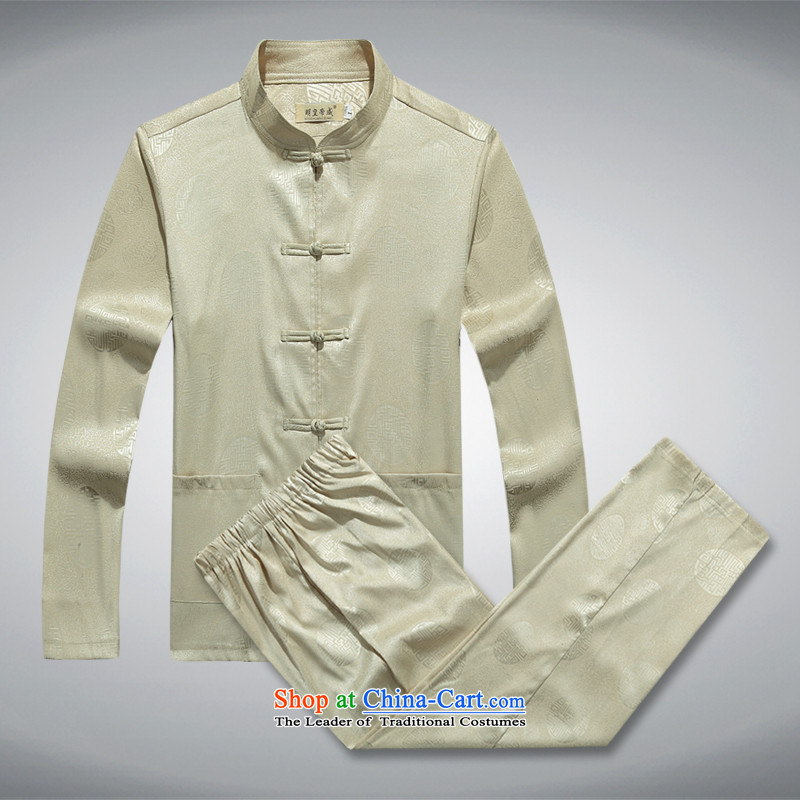 Ming Emperor Wei men in summer long-sleeved Tang older father boxed long-sleeved Chinese shirt clip China wind up manually men Millennium Hall beige 170