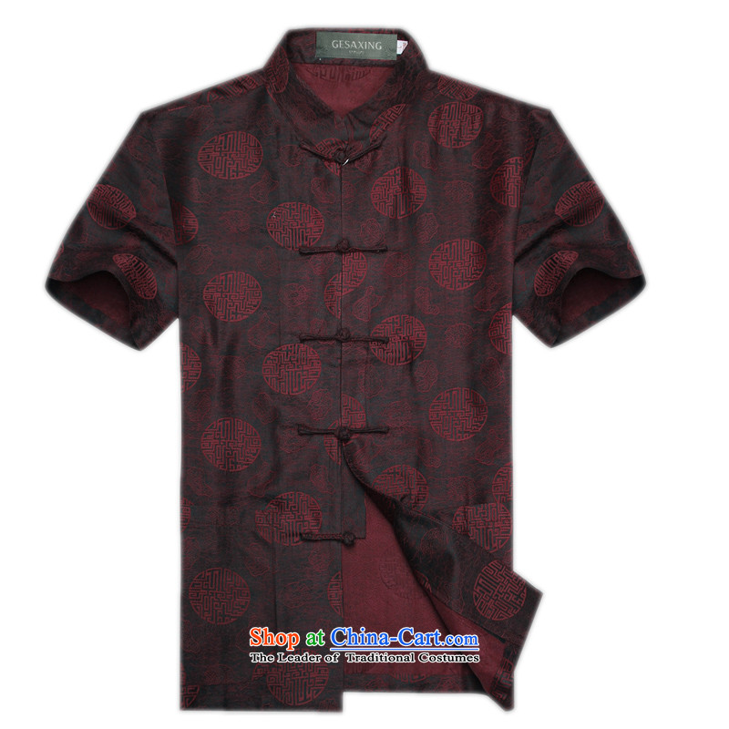 The new Summer Scent of silk yarn in the cloud of older Tang Dynasty Short-Sleeve Men national dress casual clothes men Chinese Han-auspicious Millennium Millennium聽XXXL_190 red