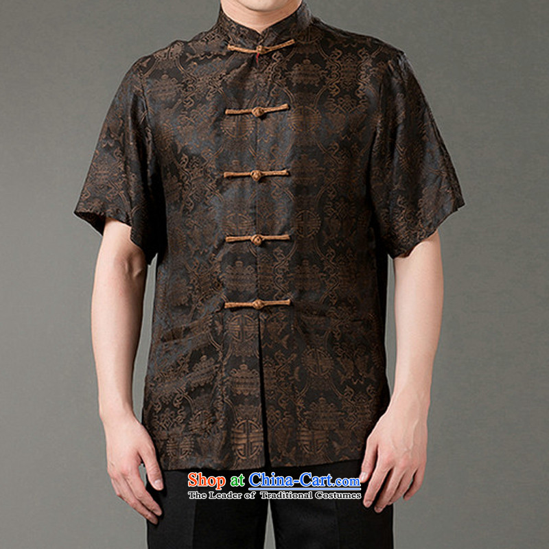 2015 Summer silk men Tang dynasty men of older persons in the short-sleeved blouses and stylish grandpa summer Beas Men Sauna silk collar short-sleeved Chinese Pouch cloud燲L_180 brown yarn