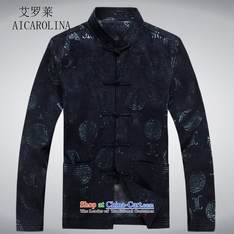Hiv Rollet Spring New China wind the elderly in the Tang dynasty and grandfather boxed long sleeve jacket large Chinese National Men's Jackets Dark Blue燤