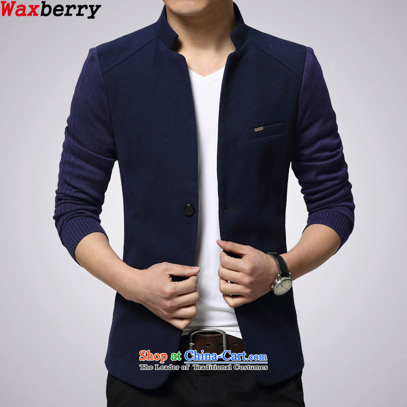 2015 Korean waxberry Mock-neck England s Chinese tunic suit small single knitting stitching gross?   He red men leisure suit coats blue�165/M�suitable for 100 catties of