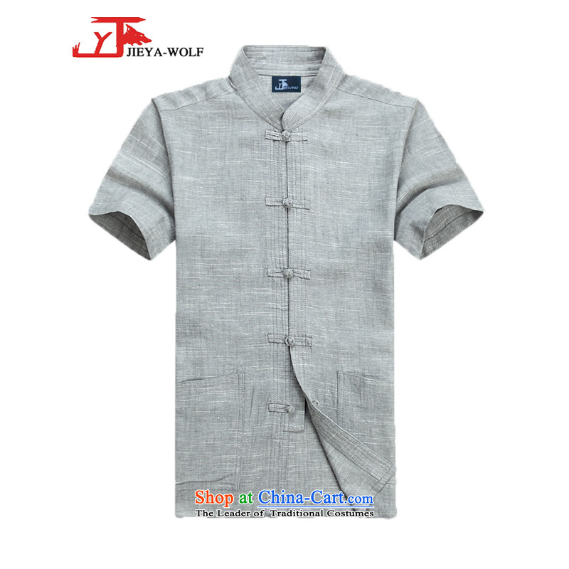 - Wolf JIEYA-WOLF, Tang Dynasty Package men's summer short-sleeved cotton linen Solid Color Kit Man Tang dynasty short-sleeved shirt kit cotton linen a light gray T-shirts are聽170_M