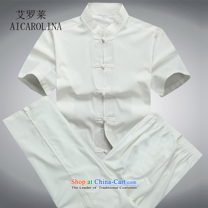 Hiv Rollet men short-sleeved package for older summer blouses China wind Men's Mock-Neck Tang dynasty white kit?M