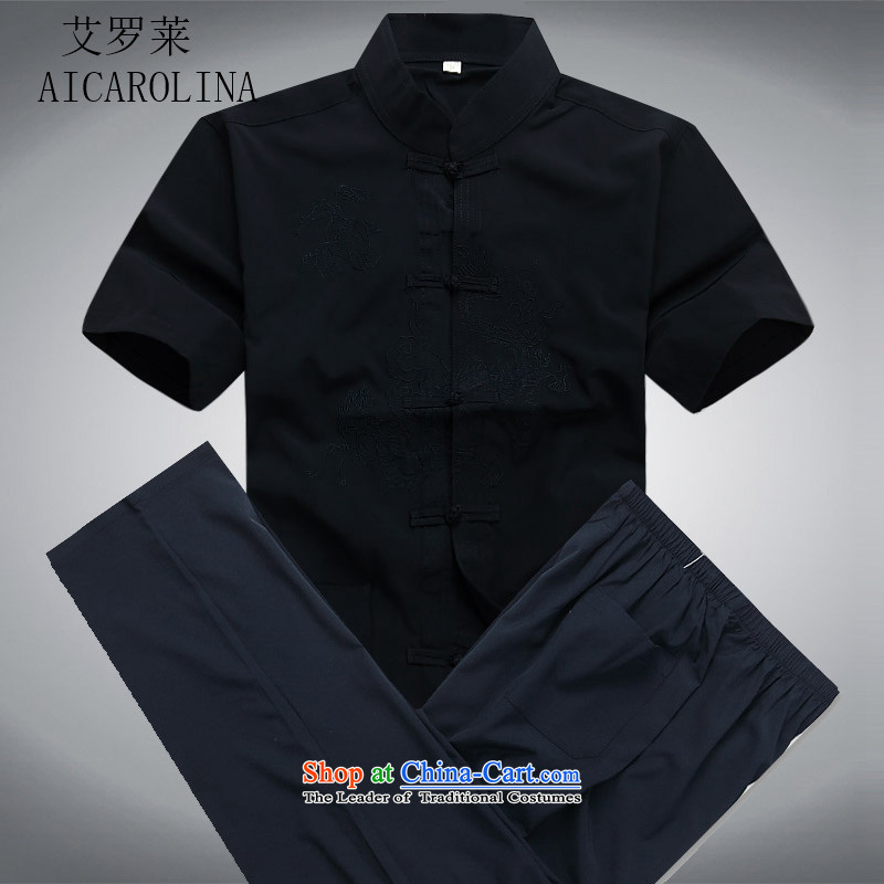 Hiv Rollet new summer in older men Tang dynasty short-sleeve kit Tang Dynasty Chinese middle-aged men's shirt dark blue kit聽S