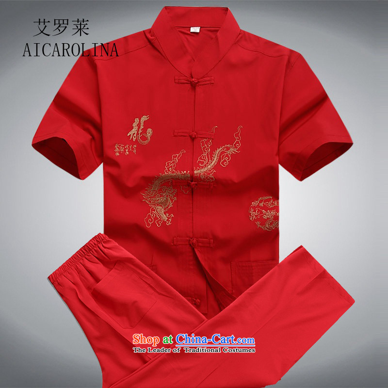 Hiv Rollet men's shirts in summer older men Tang Dynasty Chinese ball-short-sleeved clothing middle-aged leisure wears red kit L