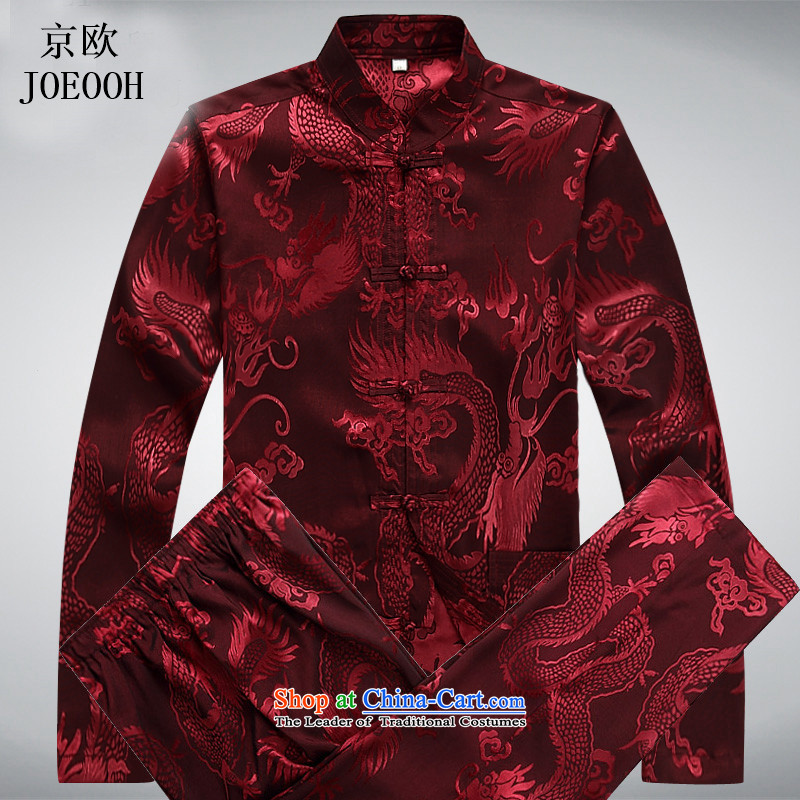 The elderly in the OSCE Kyung Tang dynasty China wind men's grandfather summer leisure exercise clothing large long-sleeved men Tang Dynasty Package red燲XXL Kit