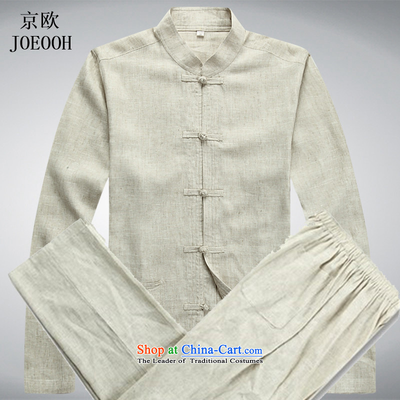 The elderly in the OSCE Kyung Tang Dynasty Package and long-sleeved linen tray clip cotton linen shirt men t-shirt with beige Tang dynasty father?S Kit