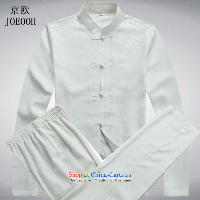 Putin in the spring and summer of the OSCE older men long-sleeved Tang Dynasty Package China wind cotton linen flax long-sleeved national costumes elderly Kit packaged XXXL White
