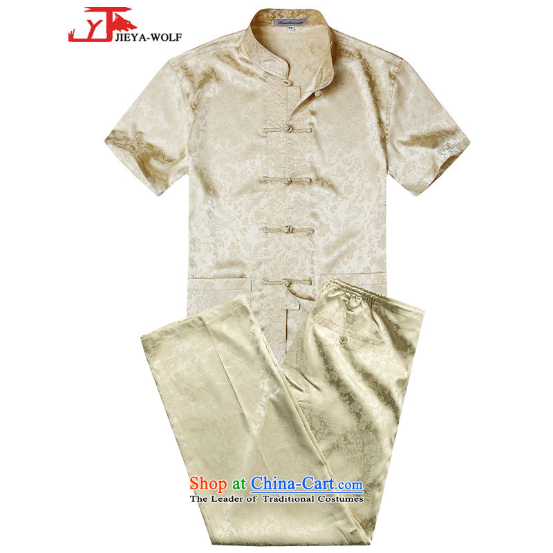 - Wolf JIEYA-WOLF, New Package Tang dynasty men's short-sleeved summer advanced silk lung to solid color handcrafted Disk Port, M yellow set of Tai Chi 175/L