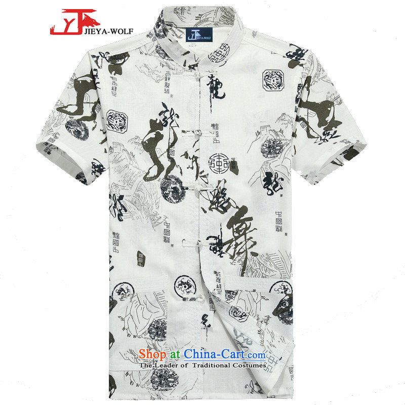 - Wolf JEYA-WOLF, New Tang dynasty men's short-sleeved T-shirt summer fine cotton linen thin, Tang dynasty men's national dancer, Leisure Taegeuk�0_XXXL White