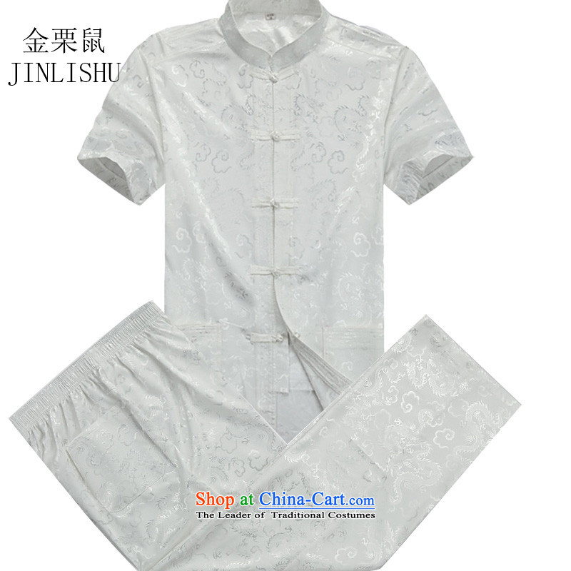 Kanaguri mouse in Tang Dynasty older men and China wind load Chinese summer father men short-sleeved Tang dynasty male Kit Tang Dynasty Package聽XXXL beige