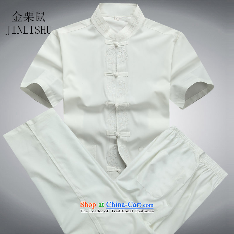 Traditional middle-aged men Tang dynasty kanaguri mouse male short-sleeved T-shirt casual male Chinese summer of Tang Dynasty Package white聽XXXL Kit