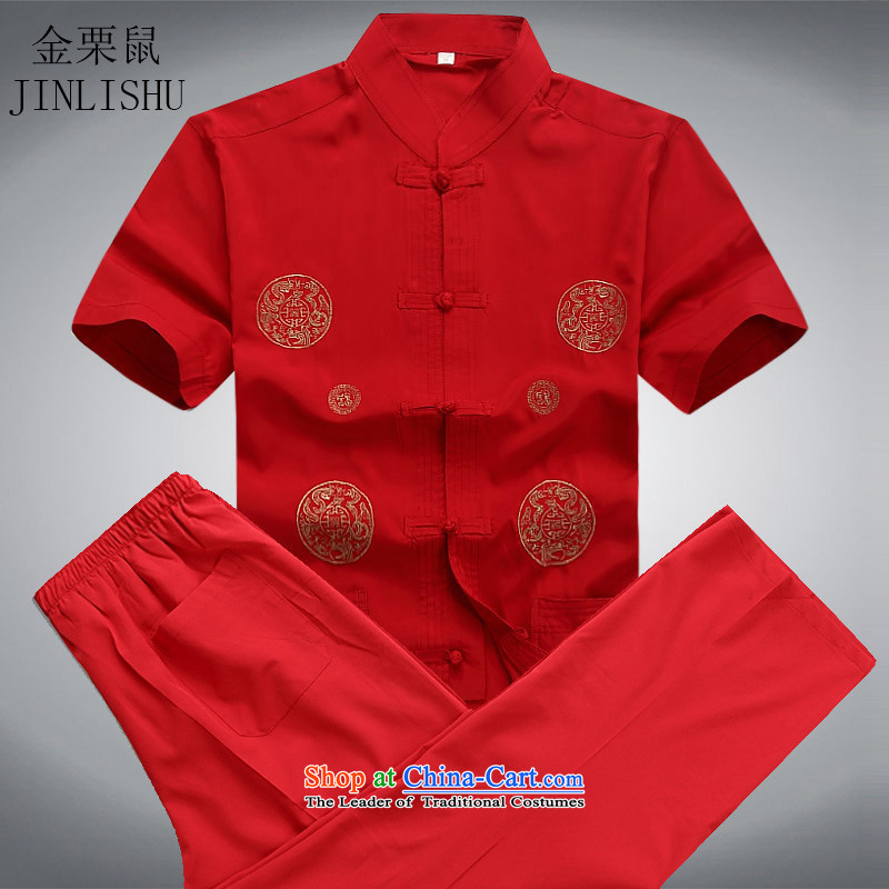 Kanaguri mouse spring and summer men Tang dynasty male summer short-sleeved clothing middle-aged father Han-Tang dynasty elderly Chinese men red kit聽XL