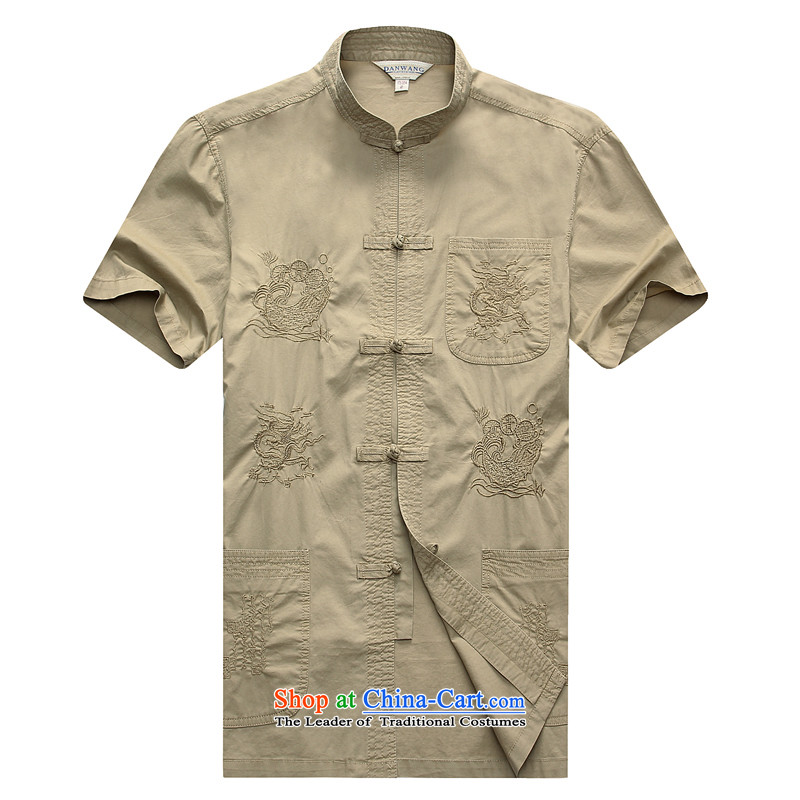 Floor is new in 2015 floor of older men short-sleeved Tang dynasty father replacing summer cotton China wind men Tang dynasty beige?180