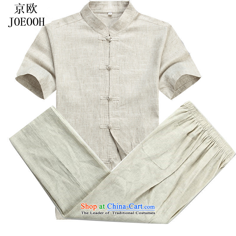 Beijing Summer Europe New Tang dynasty hemp men short-sleeved T-shirt and older persons in the Han-China wind men's short-sleeve kit beige kit?XL
